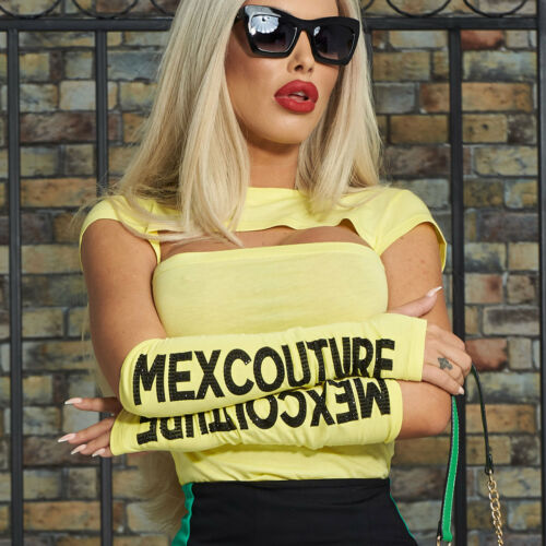 By Alina 2-Divisorio damentop TOP BLUSA T-shirt Arms TULIPANI cut-out XS-M