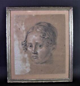 antikes-MADCHEN-PORTRAIT-um-1800-Schrobenhausen-Kohlestift-Zeichnung