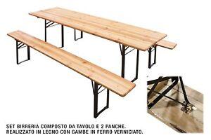 Tavoli E Panche Per Sagre.Set Birreria Pieghevole Tavolo E Due Panche Cm 200x80x74h Sagra