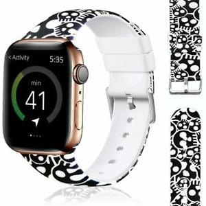 Band For Apple Watch 38mm 40mm Silicone Black White Skull Iwatch 5 4 3 2 1 Ebay