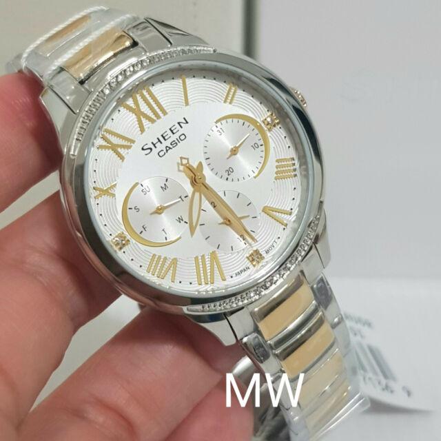 Casio Dress Watch Ladies Analog Quartz Sheen Silver Dial SHE3058SG-7A SWAROVSKI