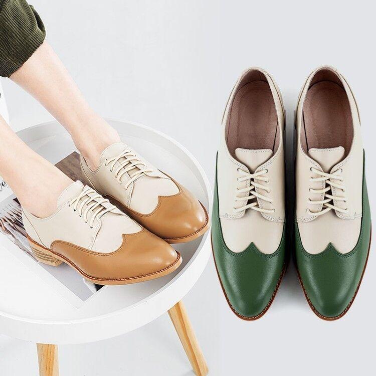 Zapatos Para Mujeres Con Cordones Plana Retro Retro Retro Oxfords talón Informal Cuero Perforado Bombas Nuevo Tamaño  lo último