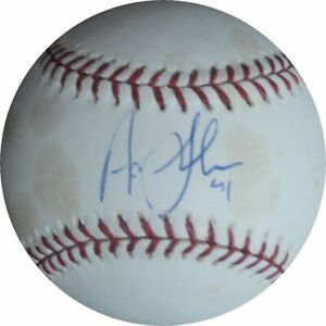 Aaron Sele Signed Official MLB Baseball Los Angeles Dodgers MLB Holo Stained
