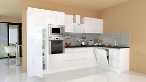 Winkelküche Küchenzeile Küche L-Form Küche grifflos weiß ...