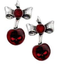 Alchemy Gothic Pendientes Tachuelas Rojo Cereza Negra Calavera Damas Para Hombre Vampiro Estaño
