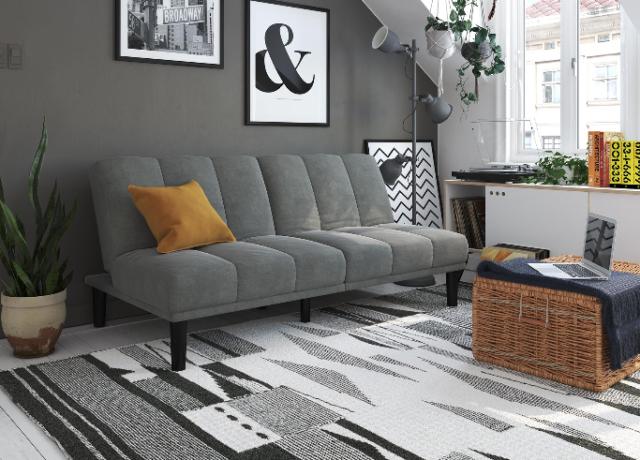 Futon Sofa Bed Gray Upholstery Dorm