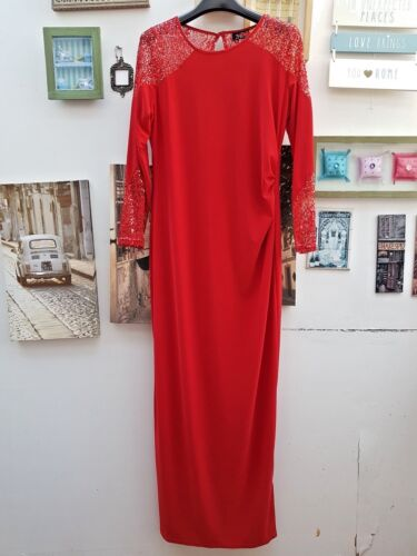 WALLIS SEQUINE DESIGN MAXI DRESS RED and BLACK SIZES 10 TO 20