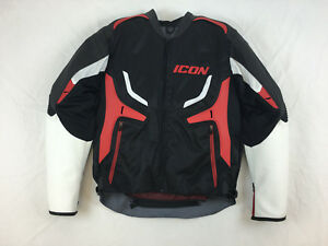 NEW-ICON-COMPOUND-LEATHER-TEXTILE-MOTORCYCLE-JACKET-BLACK-RED-WHITE-L-LG-LARGE