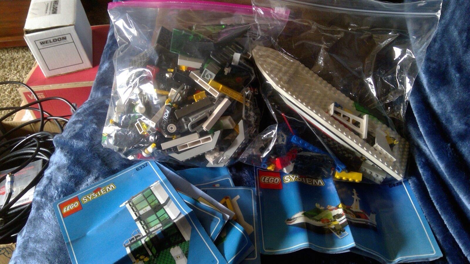 LEGO 6332 - 1998 Police Station & LEGO 6433 - 1999 Police Boat NO BOX w/Instruct