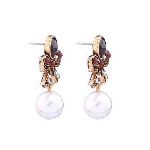 Boucles d/'Oreilles Clou Doré Rouge Noeud Papillon Perle Class Mariage Retro BB16