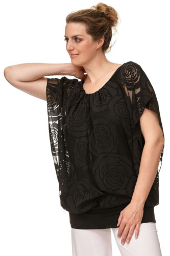 Damen Bluse Tunika Carmen Look Chiffon Oberteil Sommer Party Shirt schwarz