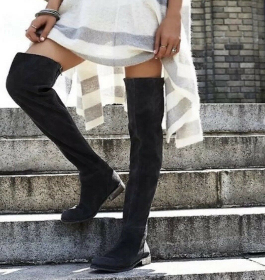 NEW Free People Carlisle Suede Thigh High Boots Size 38 Black