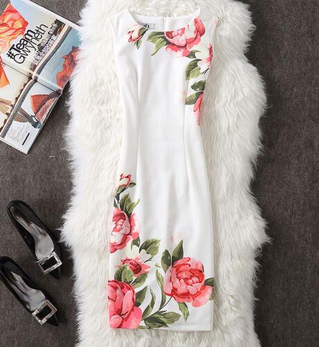 Women/'s Floral Printed Dress Summer Sleeveless Knee Length New Bodycon Dresses