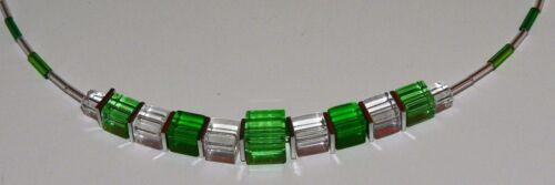Würfelkette Kette Halskette Würfel Cube Glas grün hellgrün dunkelgrün   268b