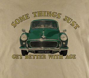 Somethings-Morris-Minor-1000-Classic-Car-Traveller-Printed-Natural-T-Shirt