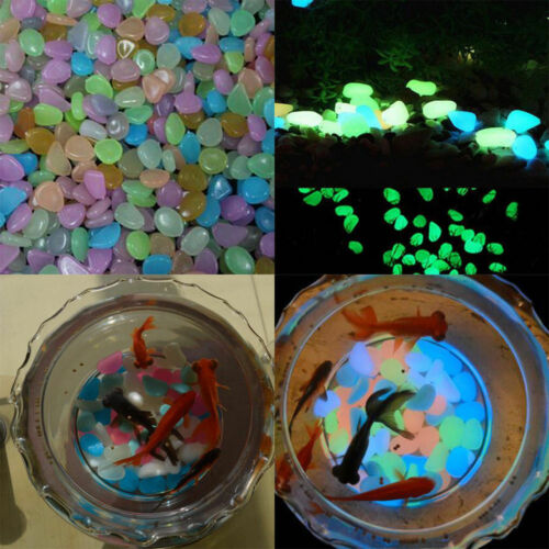 Luminous 10-30Pc Fish Tank Aquarium Ornament Glow In The Dark Stones Pebbles Hot