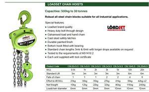 Chain Block 500Kg x 3 Metre Lift Block and tackle LOADSET HOIST