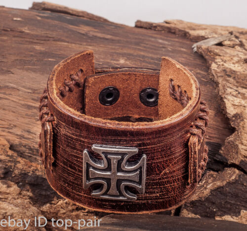 G112 Brown Metal Cross Studded Retro Leather Mens Wristband Bracelet Cuff
