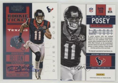 2012 Panini Contenders 233 Rookie Ticket RPS DeVier Posey Houston Texans Auto RC