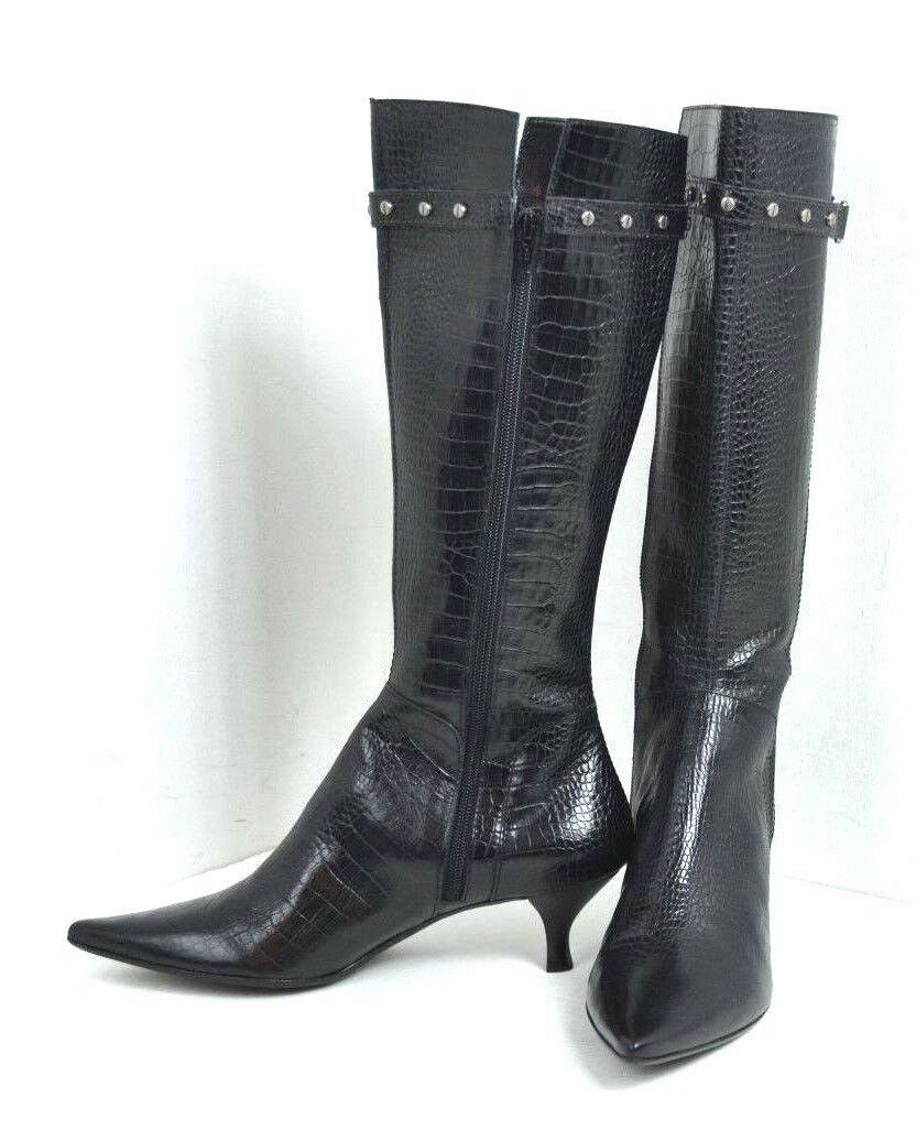 NEU FRANCO SARTO BLACK GENUINE LEATHER BOOTS SIZE 8  M