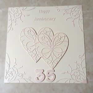 handmade coral wedding anniversary card happy 35th wedding