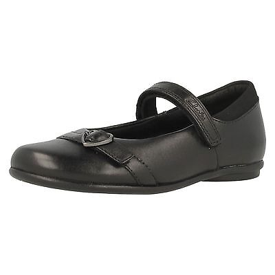 Girls Clarks Girls Tasha Bay Black Leather Strap School Shoes