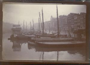 Pays-Bas-Amsterdam-Port-sur-le-canal-ca-1900-Vintage-citrate-print-Vintage-c