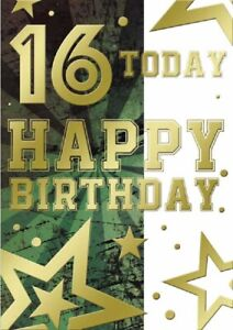 Happy 16th Birthday Card. Card Suitable For Age 16 Female/Male . Two Designs