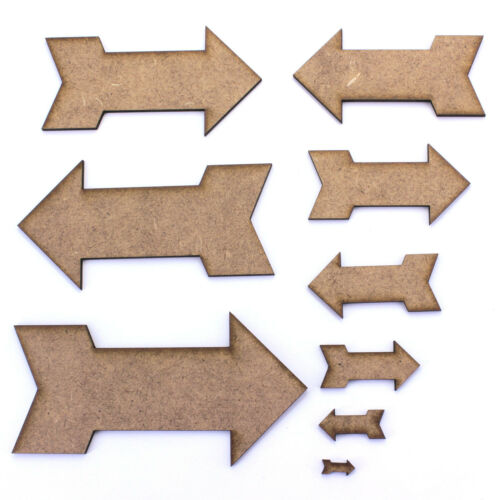 200mm Arrow Craft Shapes With Fins 2mm MDF Laser Cut Various Sizes 10mm