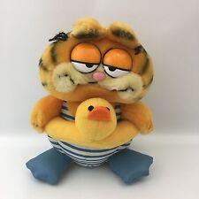 Vintage Swimming Garfield The Cat Plush Dakin 1981 Duck Flippers Orange Blue