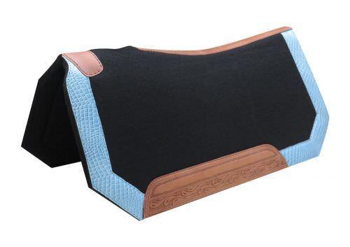 Caballo Occidental contorneada silla almohadilla de lana fieltro de 1  X 31 X32  negro con ribete de Color turquesa