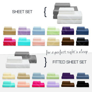 NEW-SINGLE-KING-Single-DOUBLE-QUEEN-amp-KING-BED-SHEET-Set-FITTED-SHEET-Set