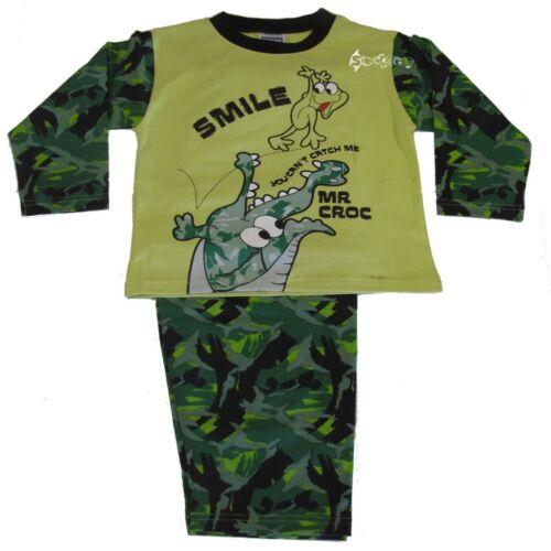 Boys Crocodile Camouflauge Long Pyjamas Ages 2-6 Years Army