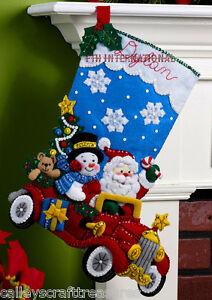 Bucilla Christmas Stocking Kits.Details About Bucilla Holiday Drive 18 Felt Christmas Stocking Kit 86451 Santa Frosty Car