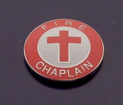 """FIRE CHAPLAIN Gold//Red Lapel//Collar Pin 15//16/"""" round  with Jewish Star of David"""