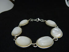 """Sterling Silver Oval White Mother of Pearl 7"""" Toggle Bracelet"""
