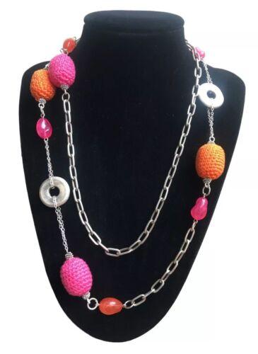 naranja y plateada Single Strand Crochet Cadena Collar En Capas Boho color de rosa caliente