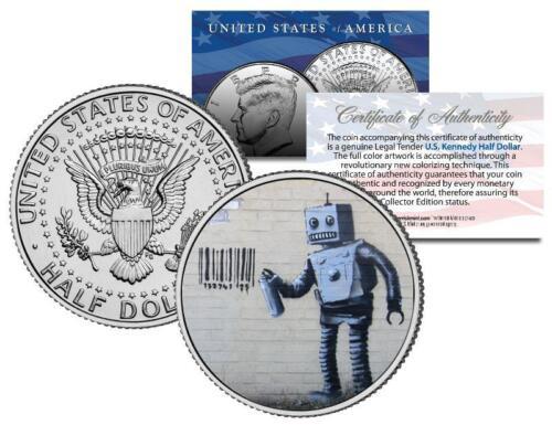 Colorized JFK Half Dollar U.S BANKSY ROBOT TAGGING BARCODE Coin Street Art