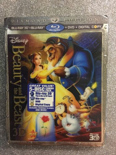 1 of 1 - Beauty and the Beast 3D (Blu-ray 3D/Blu-ray/DVD/Digital Copy, 2011) NEW w/ Slip
