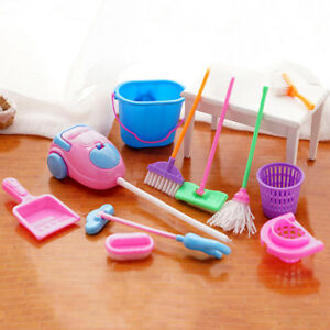 9pc Childrens Kids Cleaning Sweeping Play Set Mop Broom