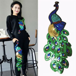 Women-Sequin-Peacock-Embroidery-Applique-Patch-Sew-On-Clothes-Accessory-Diy-HGUK