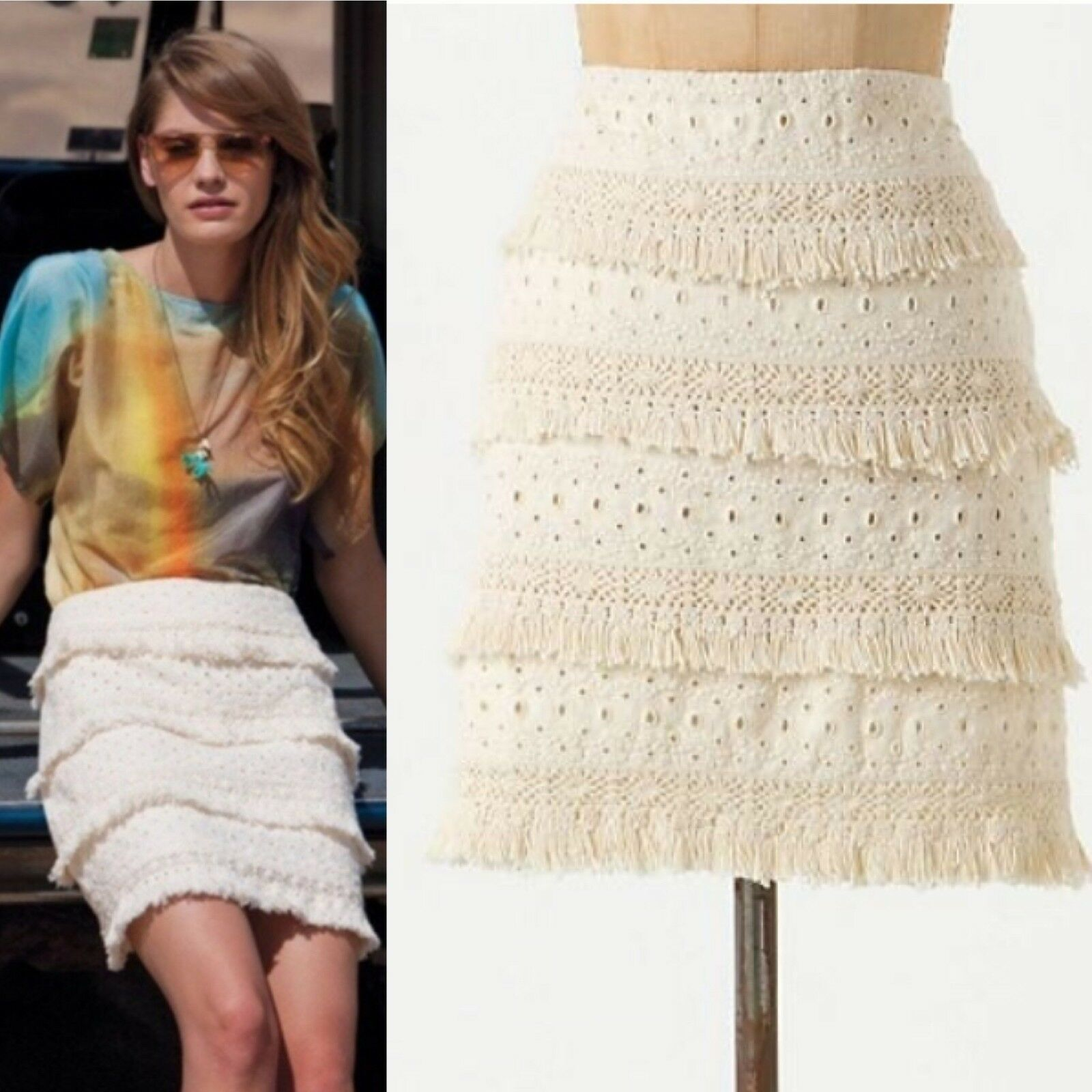 Anthropologie HD in Paris Tiered Fringe Skirt Cream Beige Eyelet Size 4