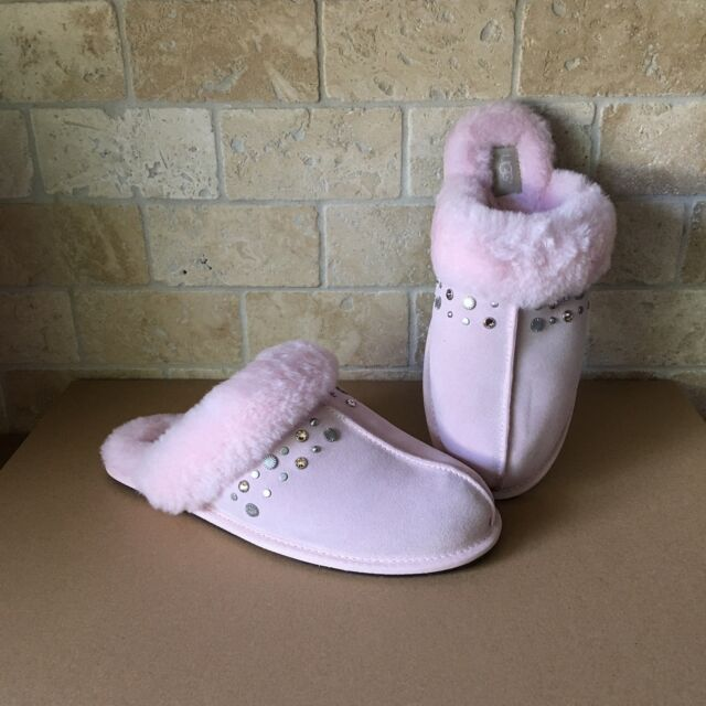 82765c3085d UGG SCUFFETTE II STUDDED BLING SEASHELL PINK SUEDE FUR SLIPPERS SIZE 12  WOMENS