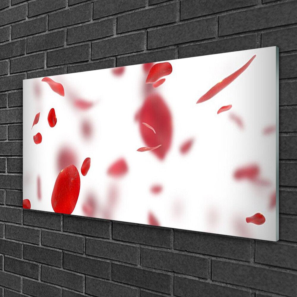 Tableau sur verre Image Impression 100x50 Floral Pétales De Rose