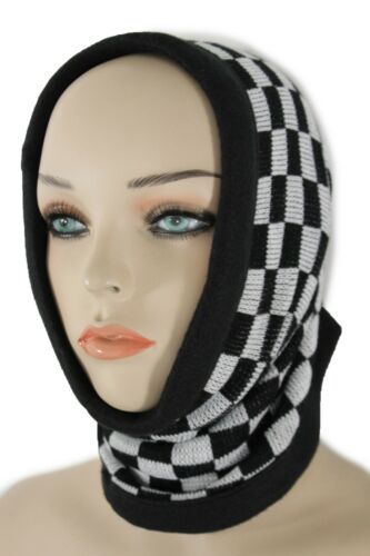 Women Scarf Turtle Neck Warmer Head Cover Outdoor Face Mask Hat Sport  Checkered