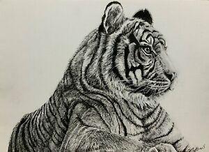 Original-ink-amp-pencil-art-tiger-big-cat-contemporary-realism-modern-home-decor