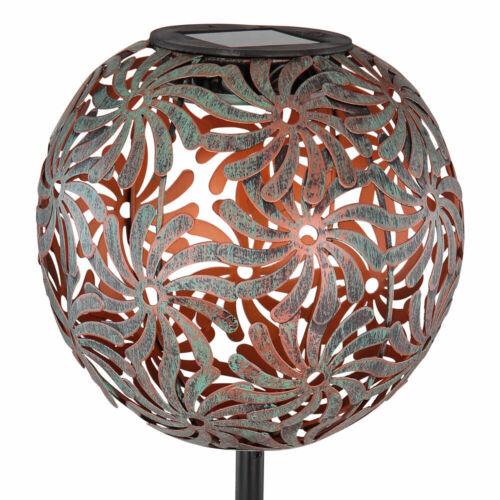 LED Außen Kugel Leuchte Dekor Geflecht SOLAR Garten Hof Steck Lampe antik gold