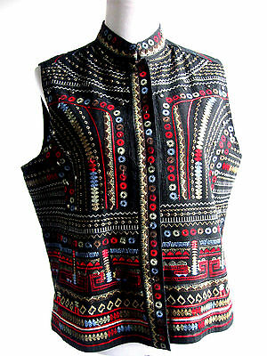 CHICOS Womens Vest Embroidered Studded Sleeveless Black Size 2 Large