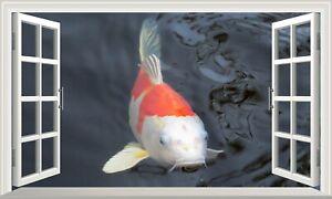 Koi Carp Fish 3D Magic Window Wall Art Self Adhesive Vinyl Sticker V5