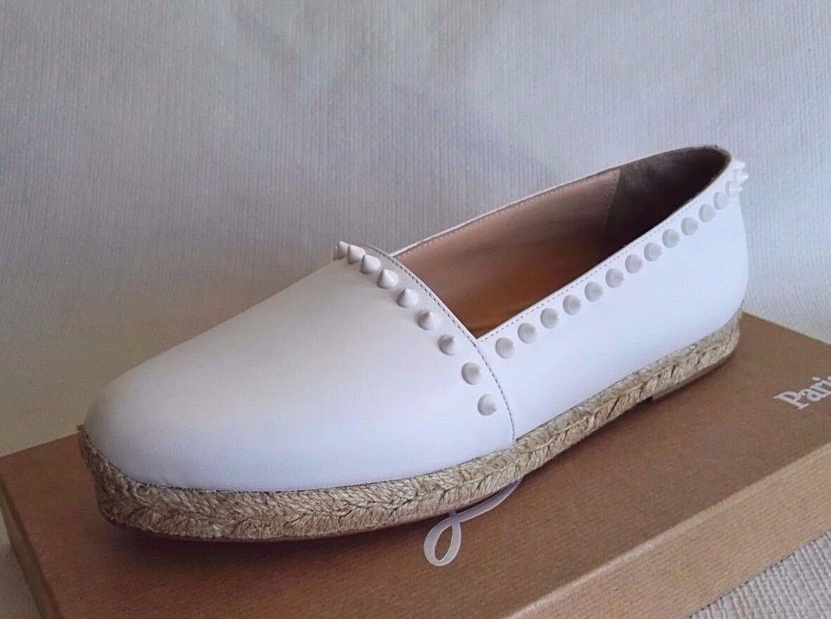CHRISTIAN LOUBOUTIN ARES WHITE 39 9 LEATHER ESPADRILLES FLATS WOMAN SHOES SPRING